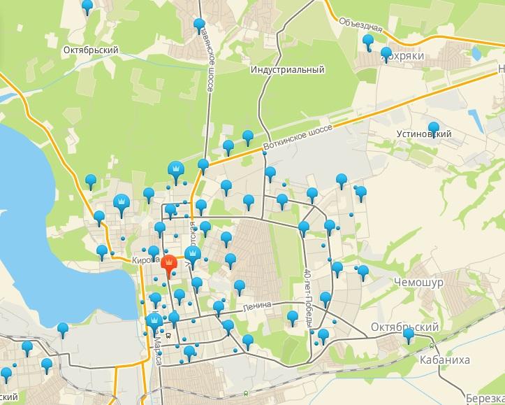 Карта новостроек Ижевска