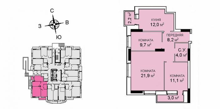 Планировка трехкомнатной квартиры в ЖК Саровский