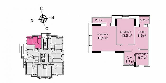 Планировка двухкомнатной квартиры в ЖК Саровский