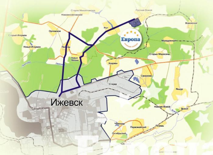 Ижевск. Схема проезда