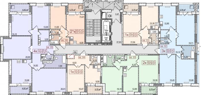 План типового этажа секции 1 ЖК ЭкоЛайф в Ижевске