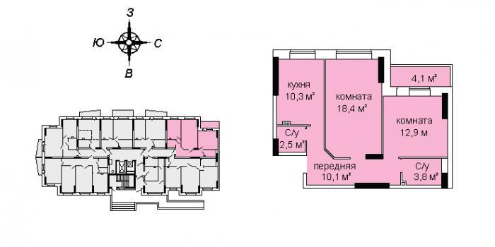 Планировка двухкомнатной квартиры ЖК А11-6 в Ижевске