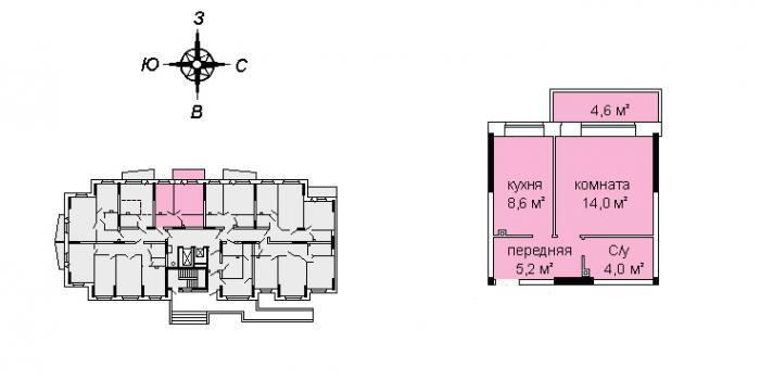 Планировка однокомнатной квартиры ЖК А11-6 в Ижевске
