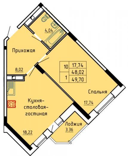 """Однокомнатная квартира ЖК """"Красная горка"""" в Ижевске"""
