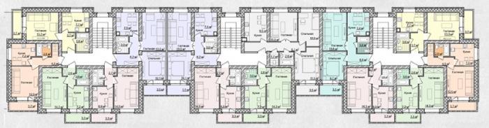 План типового этажа ЖК Дарьинский 29