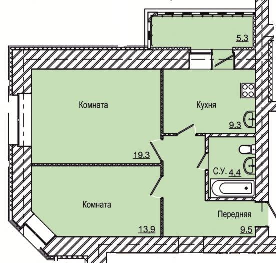 Двухкомнатная квартира в ЖК Вивальди 1 в Ижевске