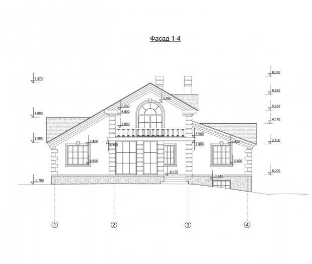 Чертежи фасада коттеджей