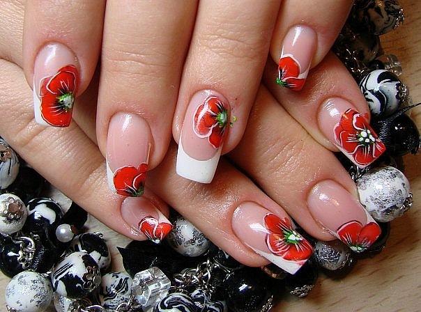 Красный мак дизайн ногтей